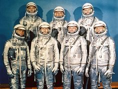 April 9, 1959: NASA Introduces the First Astronauts  On this day in 1959, NASA announced to the public the seven astronauts, also known as the Mercury 7, that would partake in Project Mercury, the first manned space program. The astronauts included: Scott Carpenter, L. Gordon Cooper Jr., John H. Glenn Jr., Virgil Grissom, Walter Schirra Jr., Alan Shepard Jr., and Donald Slayton.