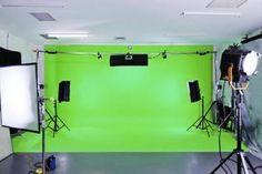 Professional green-screen setups can accommodate complex shots.
