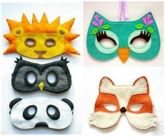 Máscaras de feltro para curtir o carnaval sem gastar dinheiro nem passar calor.