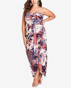 39b8e30c35d5c City Chic Trendy Plus Size Strapless Maxi Dress - Brown 14W
