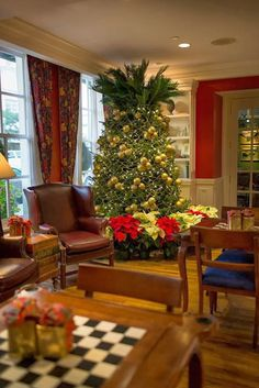 The Pineapple Christmas tree at the Marshall House.  Pineapples, a traditional symbol of welcome and hospitality, are a hot trend in interior design.