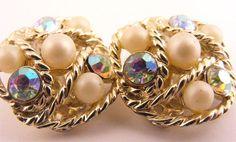 Vintage Karu Arke Clip On Earrings Cluster Rhinestone by TidBitz
