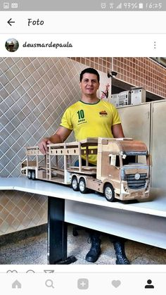 Woodworking For Kids, Woodworking Toys, Woodworking Projects, Wooden Toy Trucks, Wooden Toys, Foam Armor, Wood Toys Plans, Wood Games, Cardboard Toys