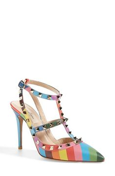 $1195. Valentino 'Rockstud' T-Strap Pump (Women) at Nordstrom.com. Golden pyramid studs glint on the caged straps of a signature pointy-toe pump revamped in a vibrant, rainbow chevron print.