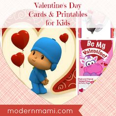 FREE Valentine's Day Cards & Printables for Kids featuring popular TV & movie characters!