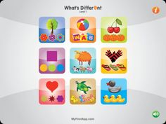 What's Diff 1 (What's different 1) - ($0.00) Finding out about the odd one out. Enhance your child's cognitive, language and visual perception skills, in particular visual differentiation skills. In What's Diff 1, the image differs due to a bold visual difference (for example, color, placing, family, etc). The game is designed for children aged 3+