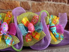 HAND PAINTED eggs Deco Mesh Easter Garland by SparkleWithDesigns