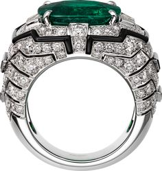 CARTIER. Ring - platinum, one 8.12-carat cushion-shaped step-cut emerald from Colombia, onyx, tapered diamonds, brilliant-cut diamonds.#Cartier #CartierMagicien #HauteJoaillerie #FineJewelry #Diamond #Emerald - jewelry womens necklace ring - http://amzn.to/2hR83wC