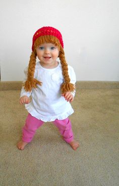 Baby Hat Pigtail Wig Cabbage Patch Costume Photo Props by YumbabY Baby Wig. Crochet Baby Hats, Crochet For Kids, Hand Crochet, Baby Knitting, Cabbage Patch Costume, Cabbage Patch Hat, Halloween Kostüm Baby, Costume Halloween, Beanie Babies