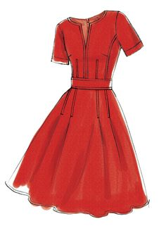 Sewing Pattern for Misses' FIT-and-FLARE Dresses with Waistband & Pockets, Vogue Pattern Women's Easy Sew Dress - Six Styles - Dress Design Sketches, Fashion Design Drawings, Fashion Sketches, Sketch Design, Dress Designs, Design Model, Fashion Drawing Dresses, Fashion Dresses, Women's Dresses