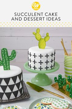 Cactus Cakes & Desserts to Make Your Favorite Cowboy/Cowgirl Wilton Cakes, Fondant Cakes, Cupcake Cakes, Cupcakes, Birthday Desserts, Birthday Treats, Birthday Cake Smash, First Birthday Cakes, Cake Decorating Tips