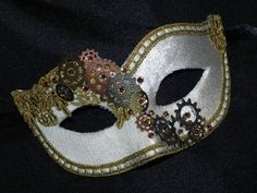 Steampunk Masquerade Mask in White and Gold by TheCraftyChemist07