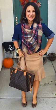 Fall style, teacher outfit, ootd inspiration. Camel skirt, navy shirt, plaid blanket scarf, leopard heels.