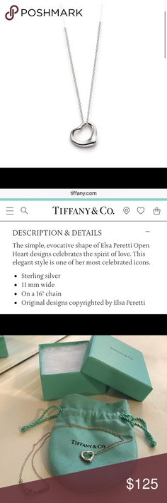 """Tiffany & Co. open heart pendant Tiffany & Co. sterling silver small open heart pendant necklace designed by Elsa Peretti on a 16"""" chain. Comes with pouch and box. Worn twice, perfect condition, no tarnishing! Tiffany & Co. Jewelry Necklaces"""