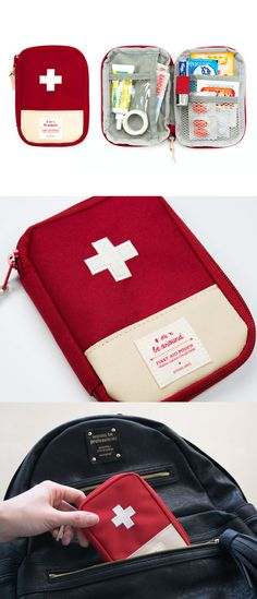 The First Aid Pouch is a useful pouch with various pockets to organize all important first aid supplies. With its compact size, it's easy to carry it in your purse or bag to use the first aid items anytime!