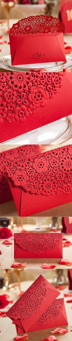 AUCH 8Pcs Deluxe Hollow Out Red Envelopes/Money Pocket/Party Accessory Organizer Envolop for Bussiness Occassion/Invited Card/Wedding/Birthday/New Year Party