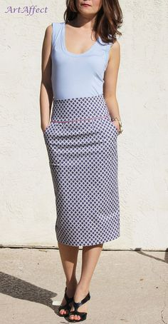 High Waist Pencil Skirt with Pocket, Purple Pencil Skirt, Midi Skirt, Office Skirt, Straight Skirt, Tailored Skirt - purple and pink pattern