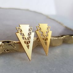 Triangle Stud Earrings - Gold Earrings, Geometric Earrings, Triangle Jewellery, Geometric Jewellery, Trending Now, Small Earrings, Minimal