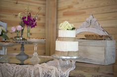 Rustic dessert table | Cakes by Carissa wedding cake via Kelly Anne Photography at The Wheeler House