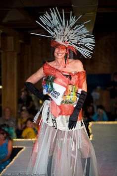 TRASHION FASHION FROCK Dress  Wearable Art Eclectic Edgy Salvage Recycled Materials  Haute Altered Couture  My Bonny