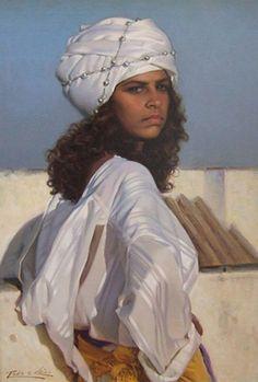 Artist: Pablo Segarra Chias (b.1945), oil on canvas {contemporary figurative beautiful female headdress woman face torso painting #loveart} <3
