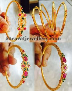 More Bangles in Gold Light Weight - Jewellery Designs Gold Bangles Design, Gold Jewellery Design, Gold Jewelry, Jewellery Diy, India Jewelry, Wedding Jewelry, Silver Bracelets, Bangle Bracelets, Bangle Set