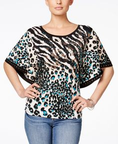 Jm Collection Embellished Butterfly-Sleeve Blouse, Only at Macy's