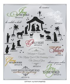 DIGITAL DOWNLOAD ... a beautiful, reverent and detailed add-on of 25 single and layered holiday wall words vinyl lettering vector art graphics ... perfect for door, window, glass, and wood block projects @ My Vinyl Designer (http://www.myvinyldesigner.com/Products/collection-two-addon-p7-1.aspx)