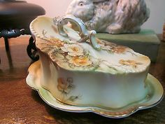 Antique Reinhold Schlegelmilch Germany Porcelain Rose Butter Cheese Dish Plate