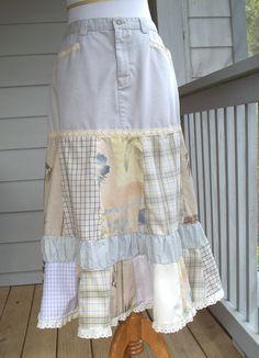 Long Patchwork & Stone Twill Skirt