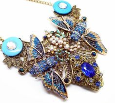 Blue Bug statement necklace #louisepringle #eclecticshock #Jewellery #necklace #insect #shopping #shoponline #Finnieston
