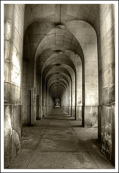 Arches under the town hall extension, Manchester.