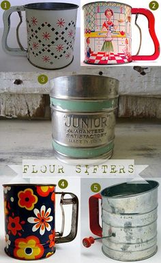 selection of 5 #vintage flour sifters #kitchenalia