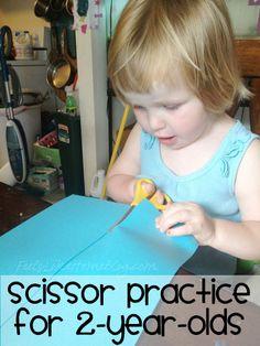 Scissor Practice for 2-year-olds on http://www.feelslikehomeblog.com
