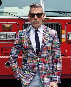 """Nick Wooster in a Madras Patchwork blazer.  #NickWooster #NickWoosterFanPage"""