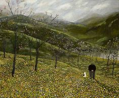 """""""Daffodils"""" Gary Bunt Oil on canvas, 56 x 68 ins I wandered slowly with my dog We likes to roam o'er vales and hills When all at once we came across Loads of bloomin daffodils"""