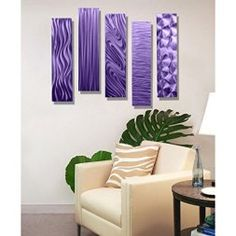 Purple wall art is funky, cute and currently trendy. You can see how popular purple home wall art décor is on home décor shows on TV, Online and even in your own community. Additionally purple wall art is truly charming and pretty. #purple    Purple Rectangular Metal Wall Art Accent - Multi Panel Wall - Modern
