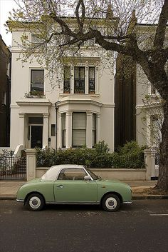 Nissan Figaro ~ Notting Hill with green car ~ London ~ England ~ Notting Hill, London England, England Uk, Nissan Figaro, Figaro Car, Beautiful Homes, Beautiful Places, London Calling, Cute Cars