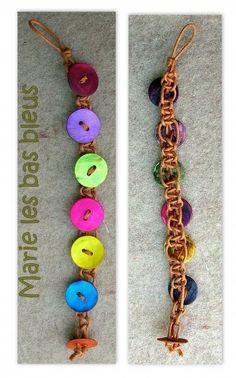 Button macrame bracelet - pictures only, but a good shot of the knots between buttons on the back.