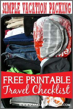 Simple Vacation Packing: Free Printable Travel Checklist - Sparkles of Sunshine