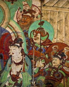 Another Celestial Guardian from Yulin Cave 25 Maitreya Sutra in China, displaying a guardian with a helmet with prominent winged cheek pieces- for the samurais of the succeeding centuries, namely during the Hein era- they would term such pieces Fukigaeshi.