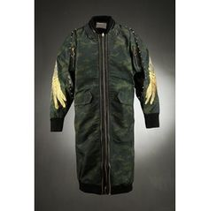 Long Camo Studded Gold Wing Embroidered Sleeve Sukajan Souvenir Long Jacket