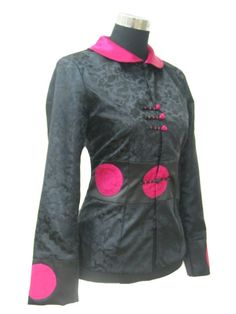 #idreammart Periwing Traditional Black Satin Lotus Collar Chinese Jacket for Ladies - iDreamMart.com