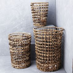 Twisted Banana Leaf with Iron Open Weave Basket from INARTISAN