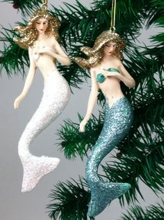 nautical christmas decorations | ... Nautical Blue White Glittery Mermaids Christmas Holiday Ornaments Set
