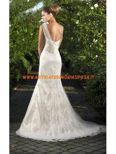 una sirena abito spalla applique da sposa in tulle elegante 2013