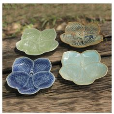 Set of 4 Handcrafted Celadon Ceramic 'Orchids' Plates (Thailand) - Overstock™ Shopping - Great Deals on Novica Plates