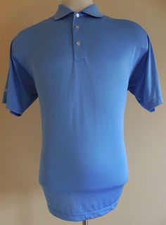 PETER Millar POLO Shirt MENS L Blue Large Sz SIZE GOLF Logos SUMMER COMFORT Man* #PeterMillar #PoloRugby