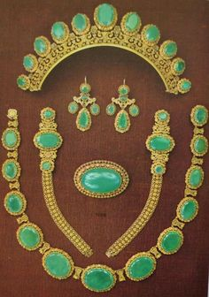 Sitting in a forgotten folder, a gold and chrysoprase parure belonging to Archduchess Maria Valerie of Austria