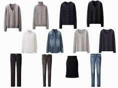 """The Common Wardrobe 12-piece neutral wardrobe basic wardrobe core wardrobe in navy and grey 